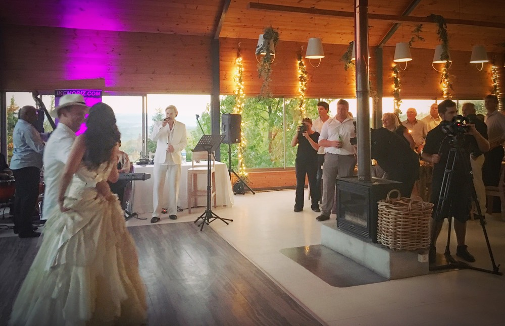 Ike Moriz at Old Mac Daddy luxury trailer park farm Elgin valley wedding entertainer band music Top wedding singer Truda Werner first dance