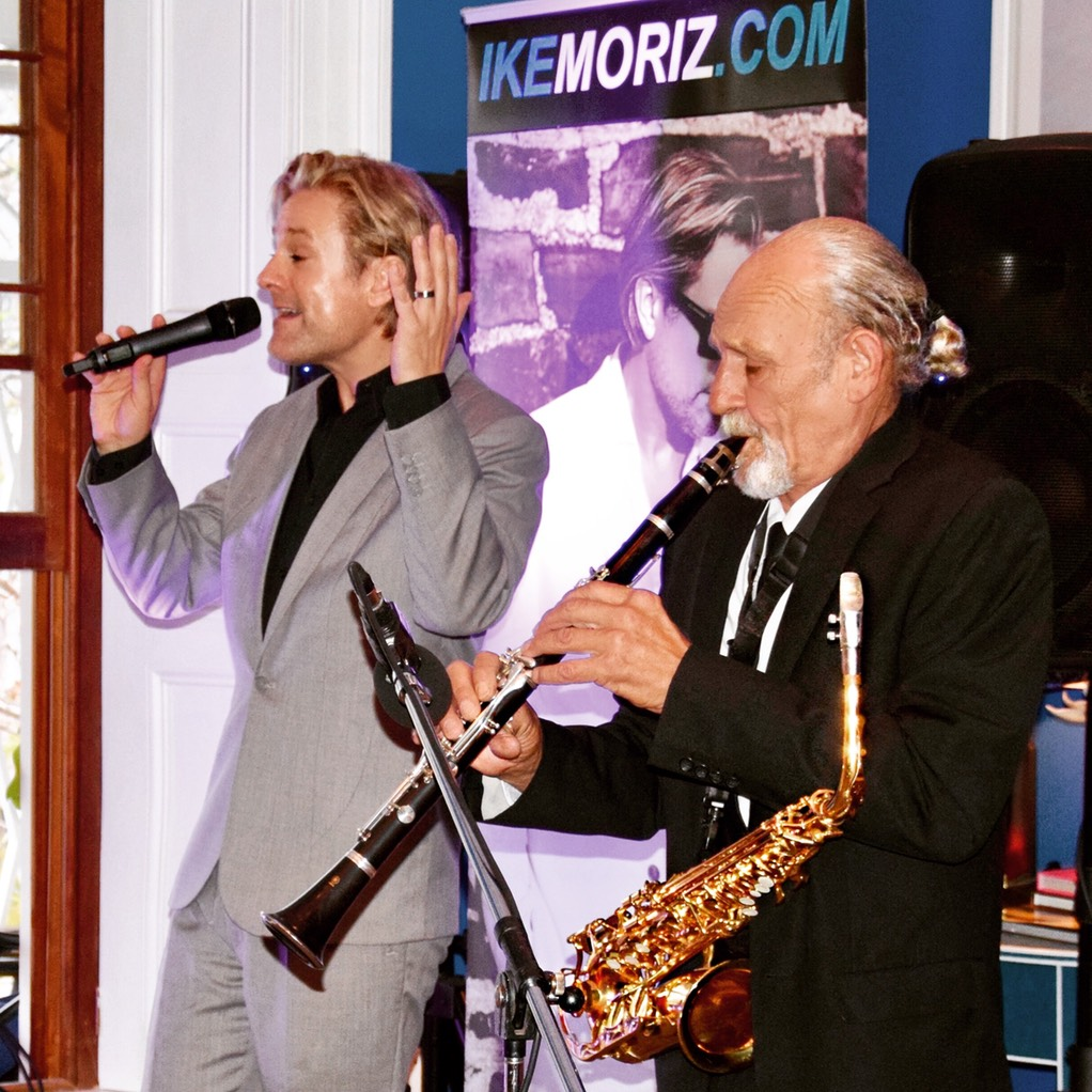 Iker Moriz at The Stack Gardens Cape Town Willie van Zyl swing jazz latin pop duo band entertainment wedding music top singer cape town saxophone clarinet